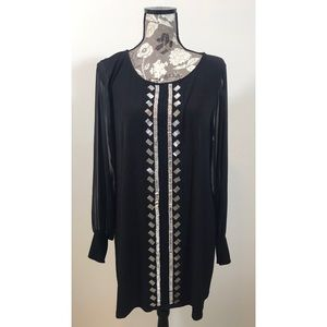 NWOT ALFANI black sheer long sleeve dress